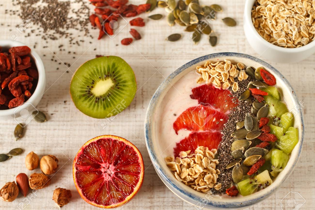 Superfoods Smoothies Bowl With Chia Seeds Oats Goji Berry And
