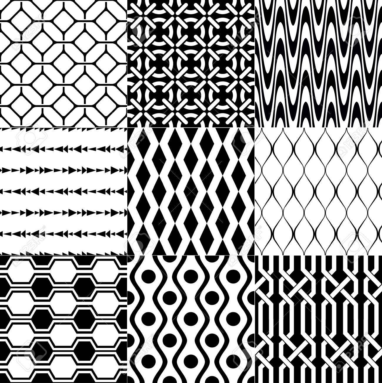Seamless Geometric Black White Monochromatic Background Set Royalty