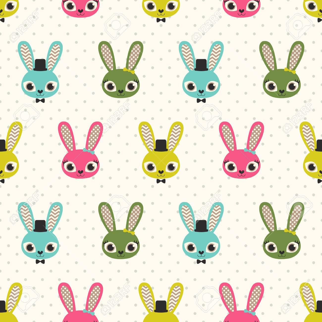 Conejos Sin Fisuras Patrón De Dibujos Animados Ilustraciones ...
