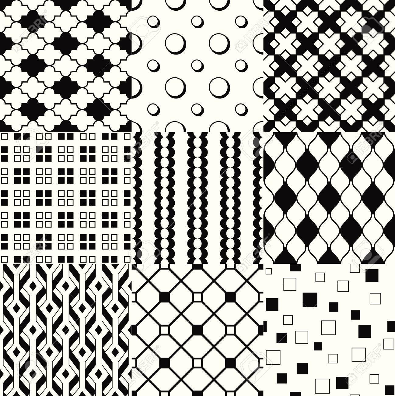 繰り返される白黒の幾何学模様セットのイラスト素材・ベクタ - Image ...