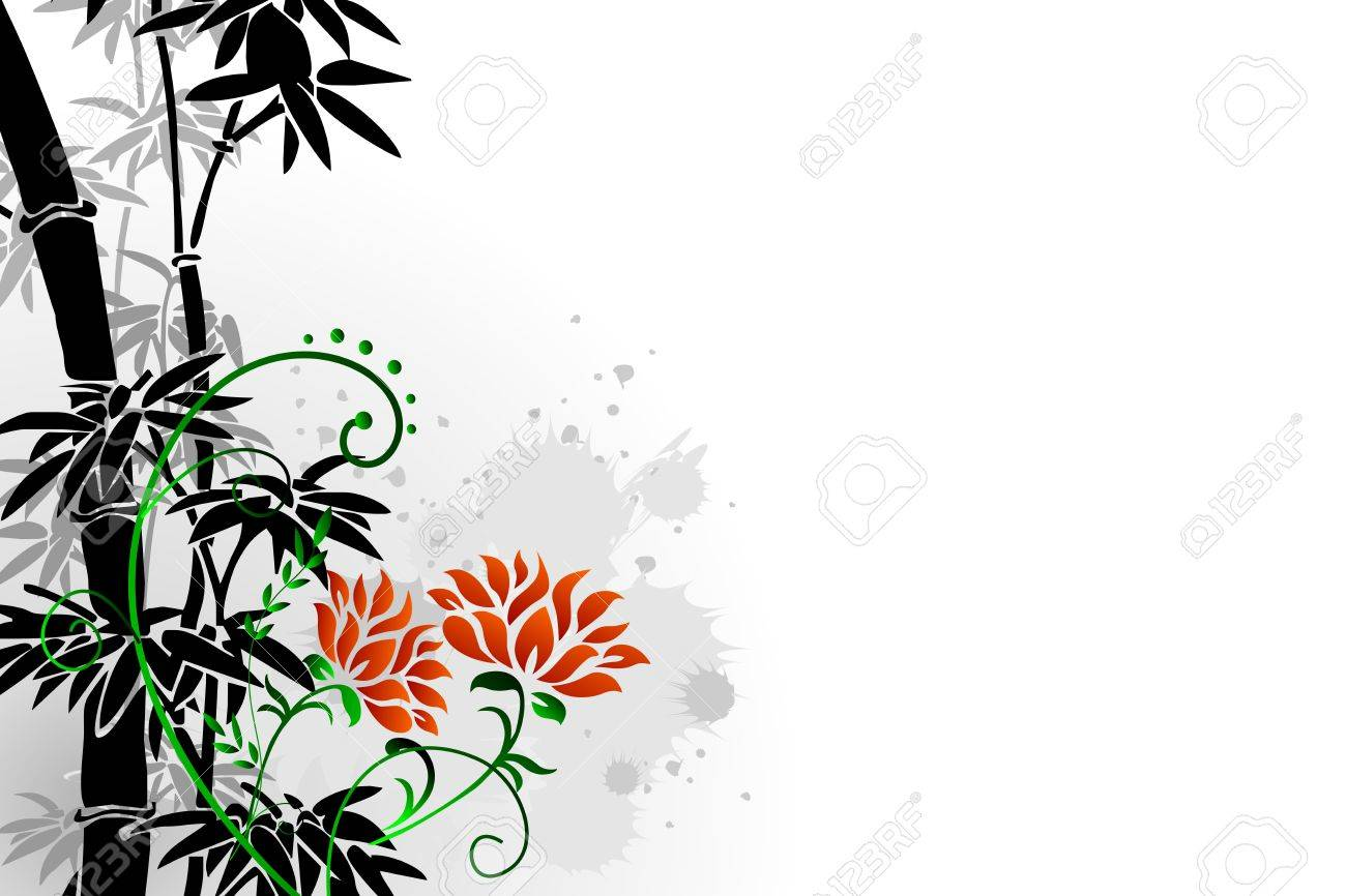 Abstract floral background with oriental bamboo and floral illustration - 10601660