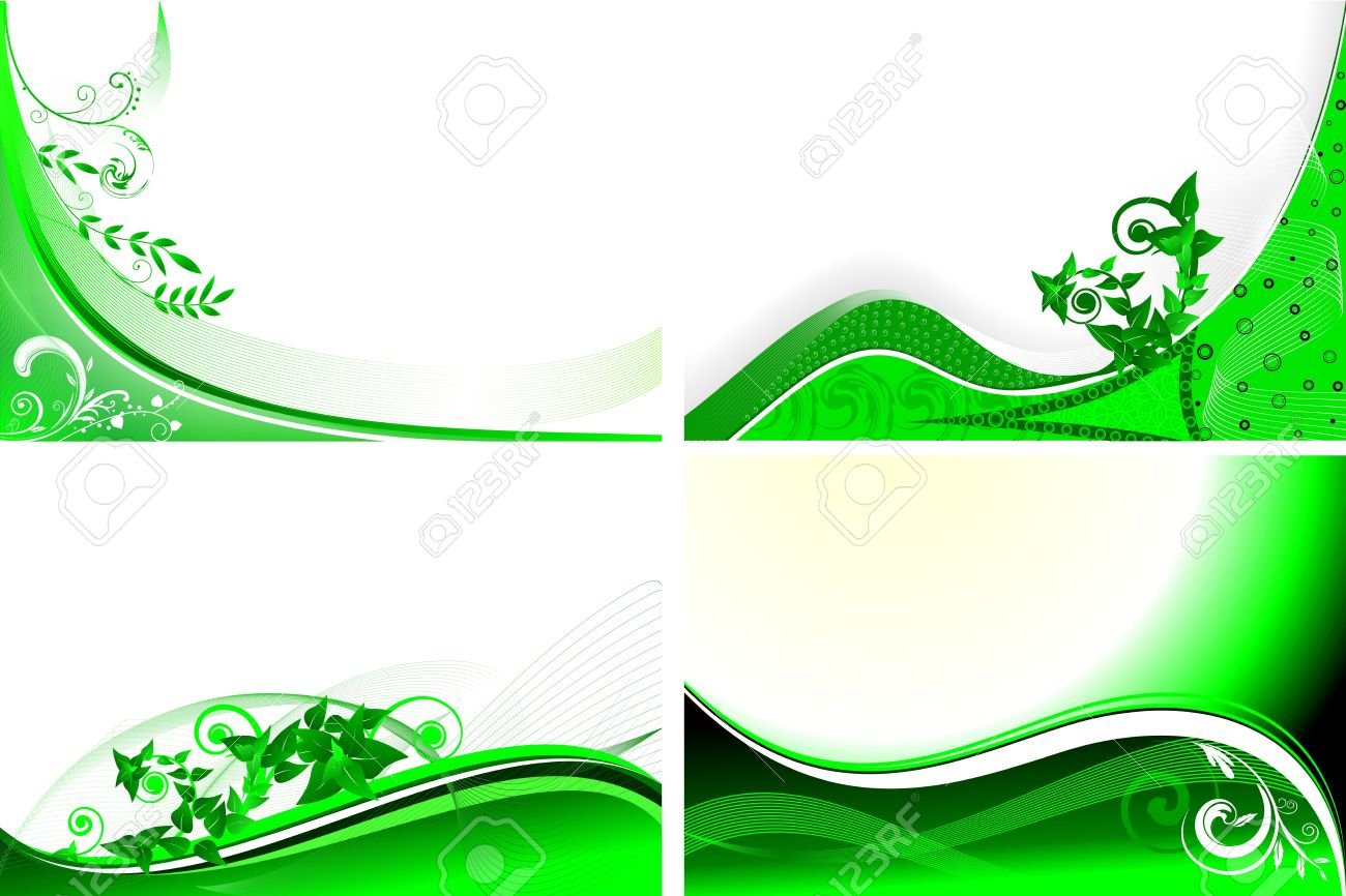 set of four green floral background - 10601664