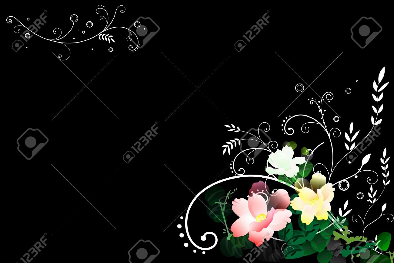 Abstract flower illustration in black background - 10601657