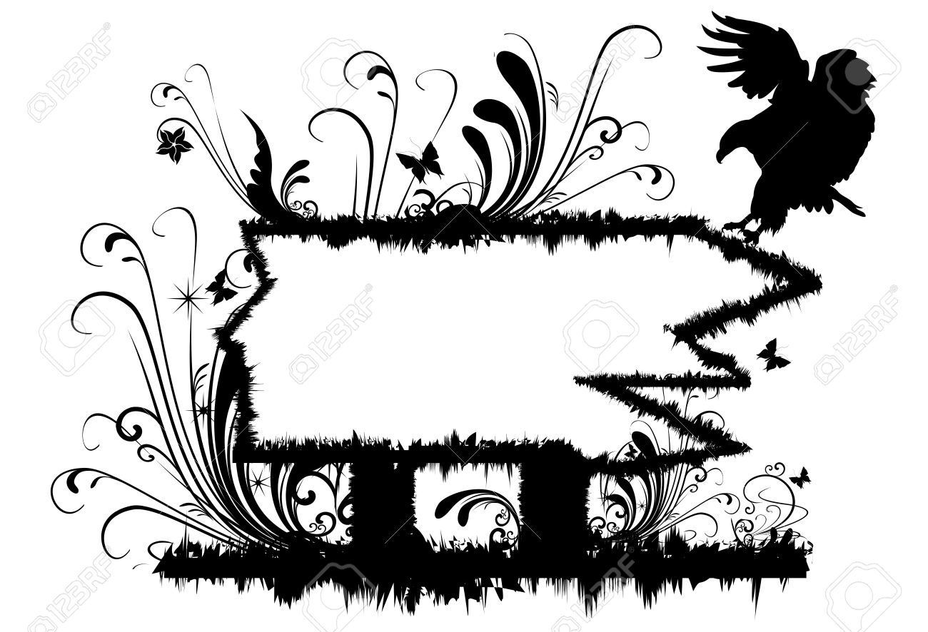 Illustration of frame with Abstract Floral motif and eagle silhouette - 10601658