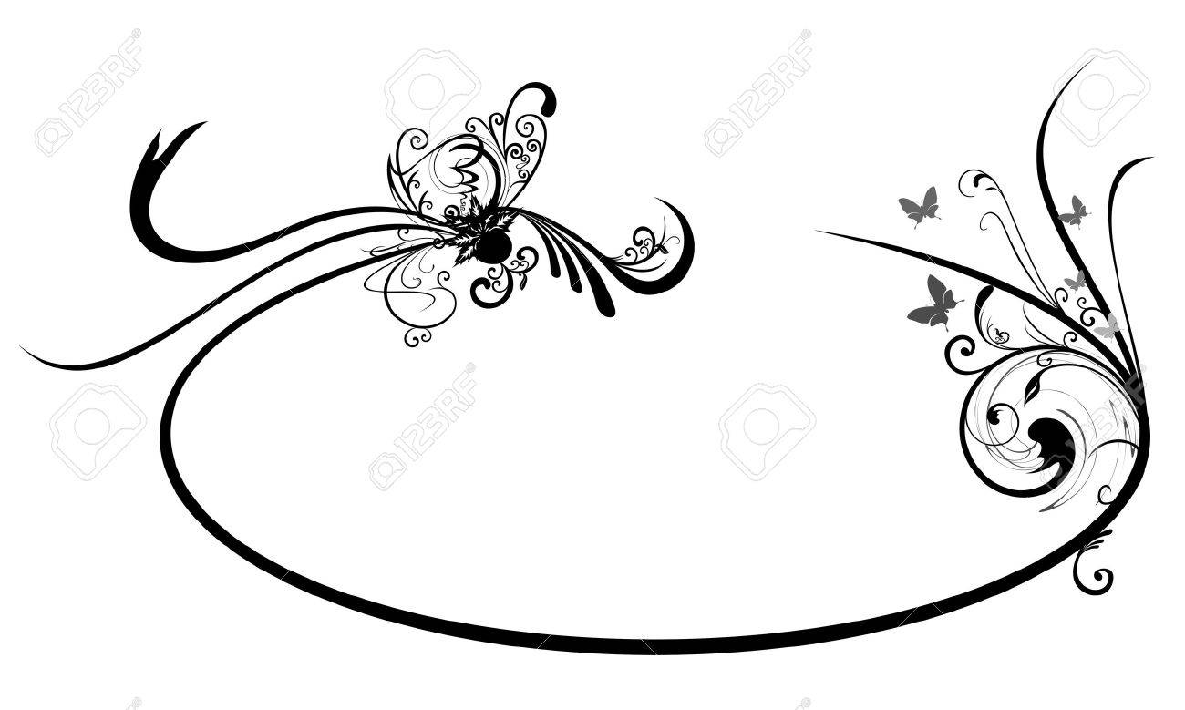 Oval frame with Abstract Floral motif - 10689513