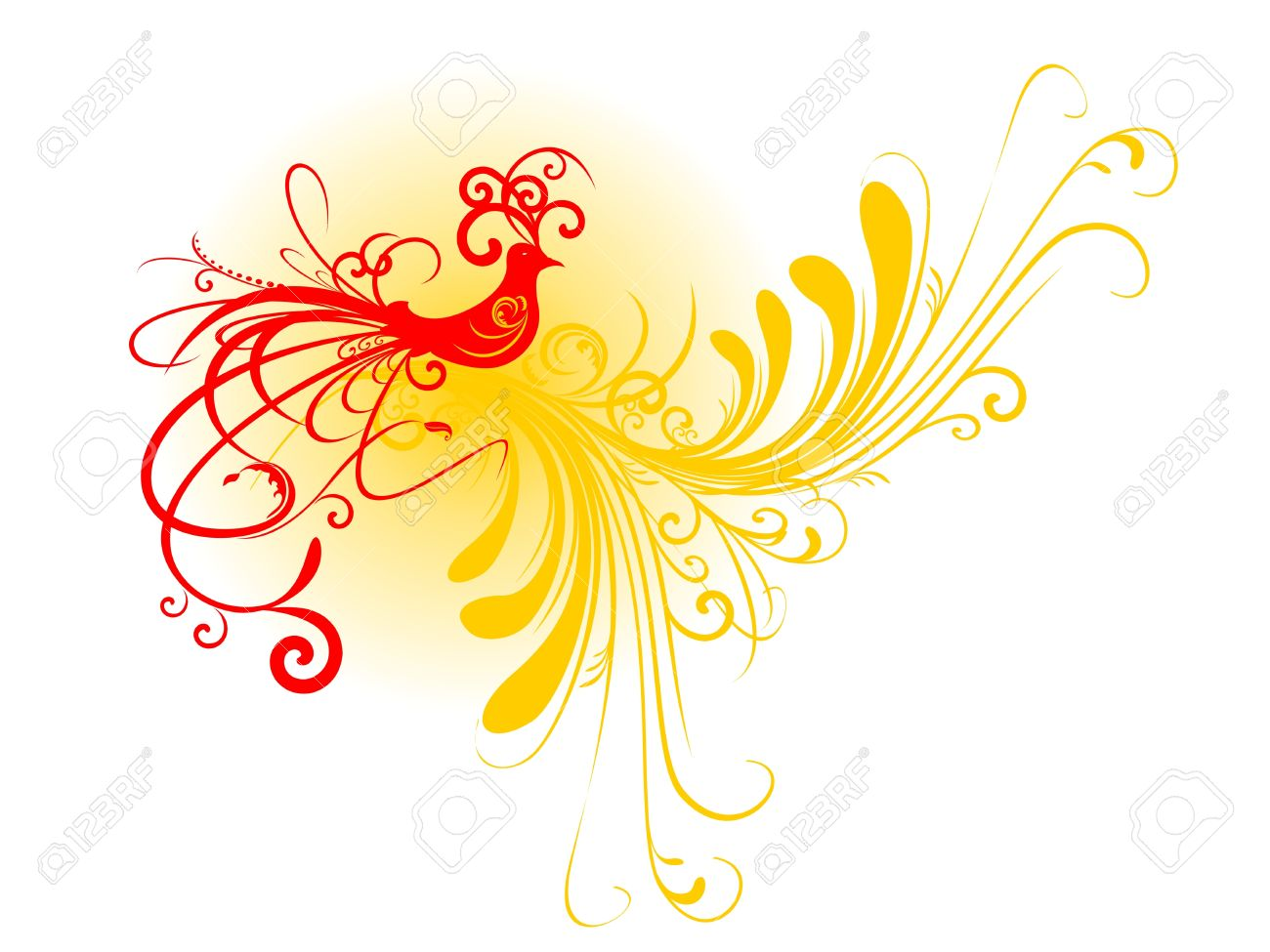 Abstract bird silhouette with floral motif - 10689511