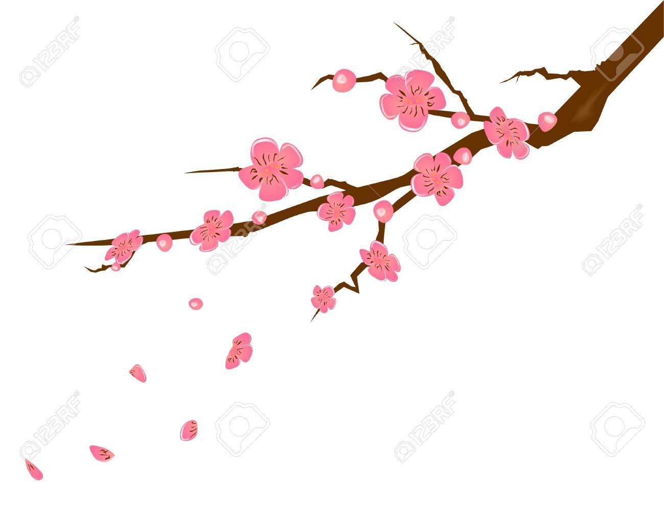 ピンクの桃の花イラストのイラスト素材ベクタ Image 10675947