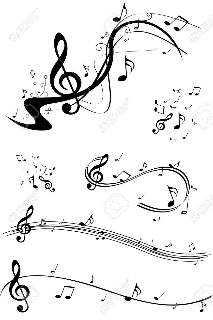 set of music note illustrations royalty free cliparts vectors