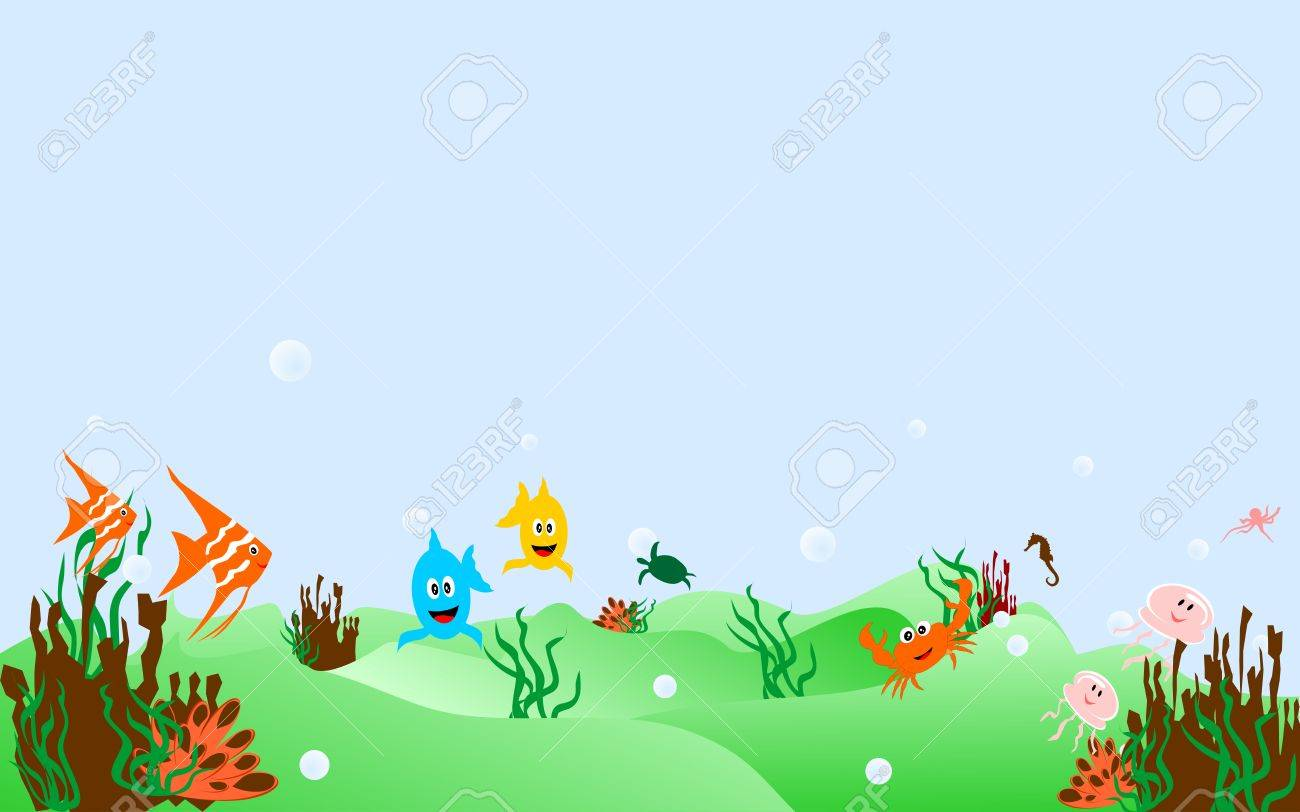 Some cheerful marine animals in the blue sea - 10689514