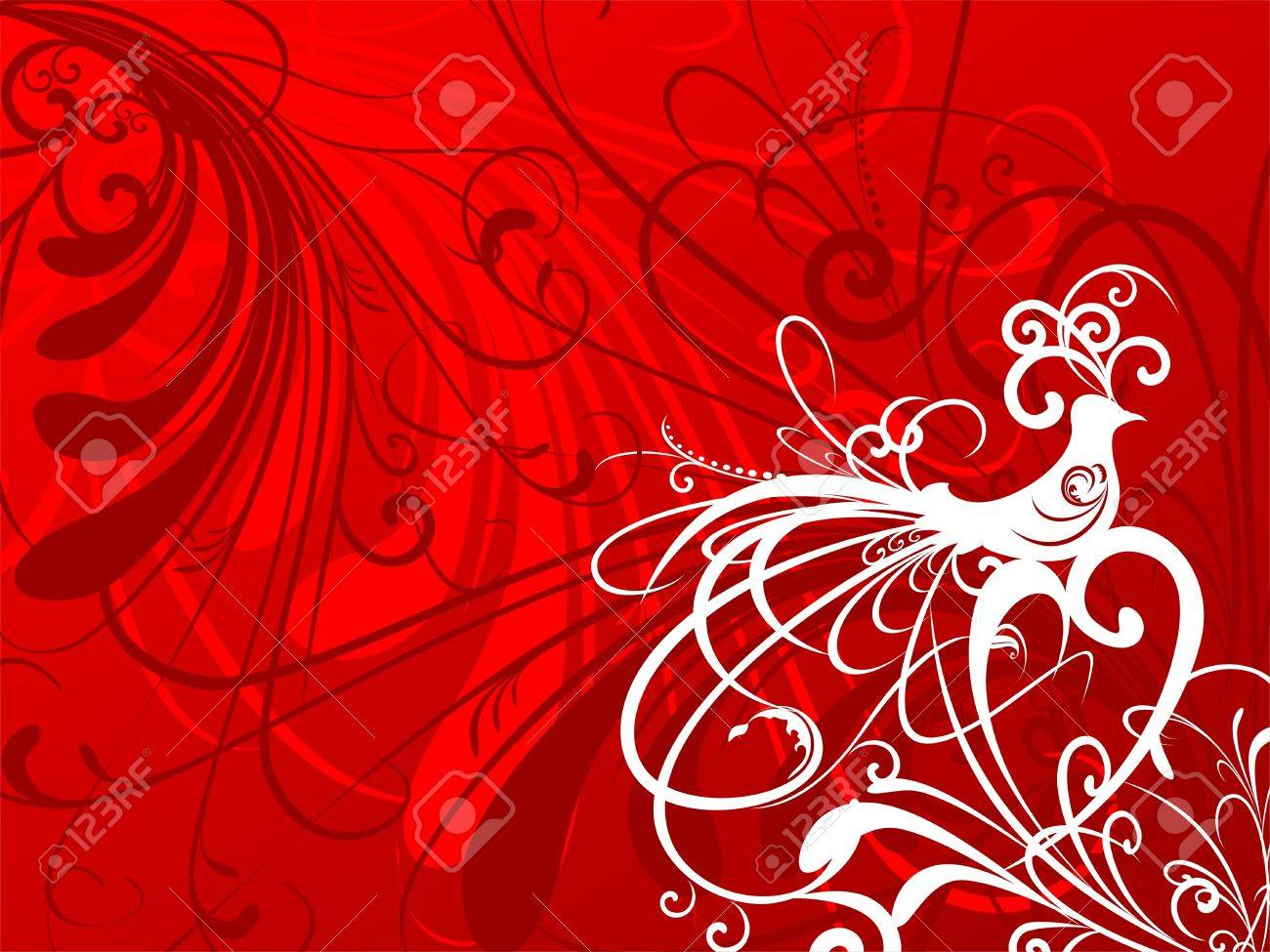 Red floral background - 10748471