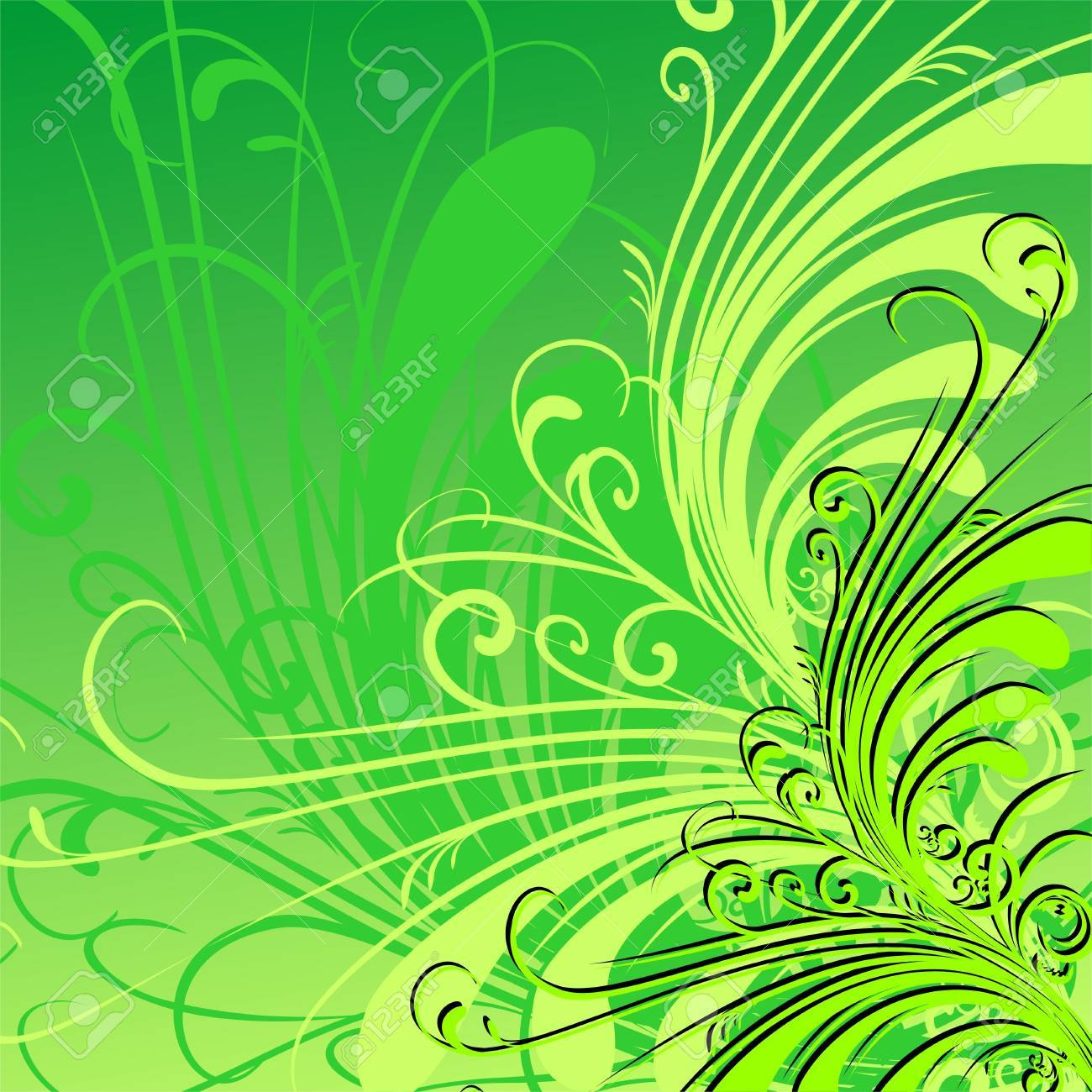 Green floral background - 10748472