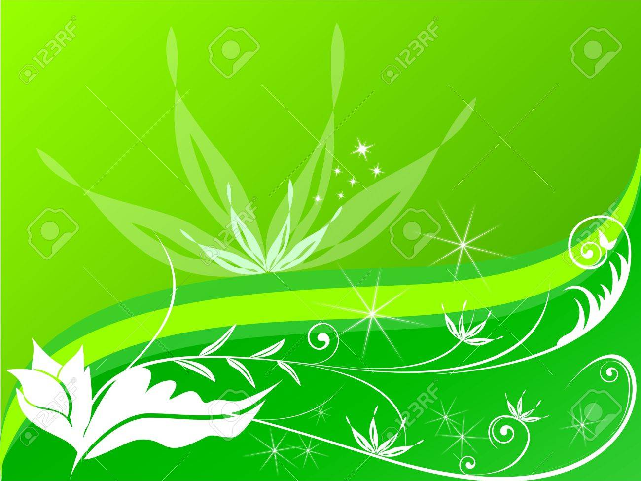 Green floral background - 10748467