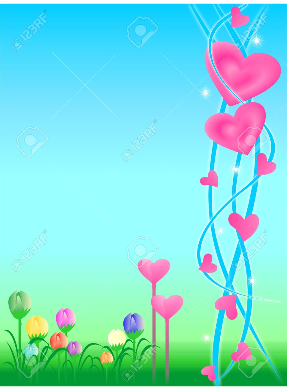 Background with floral motif and cute love - 10748469
