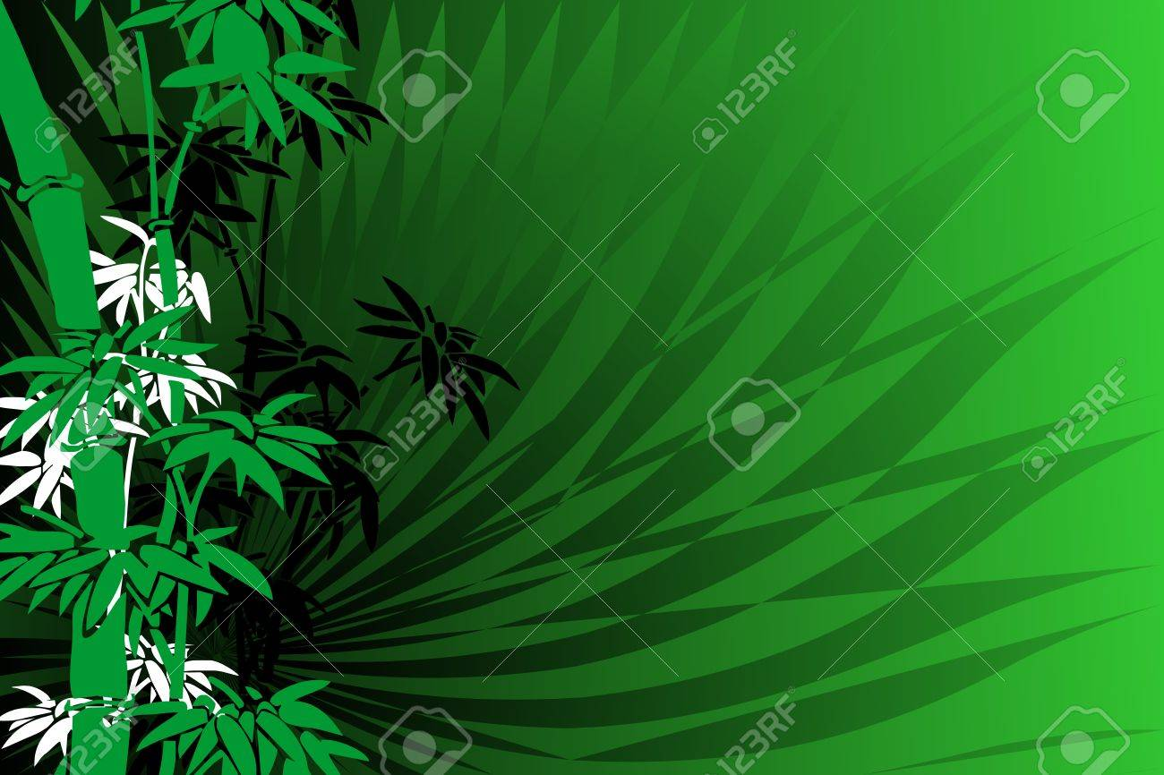 Abstrac background with green bamboo illustration - 10889108