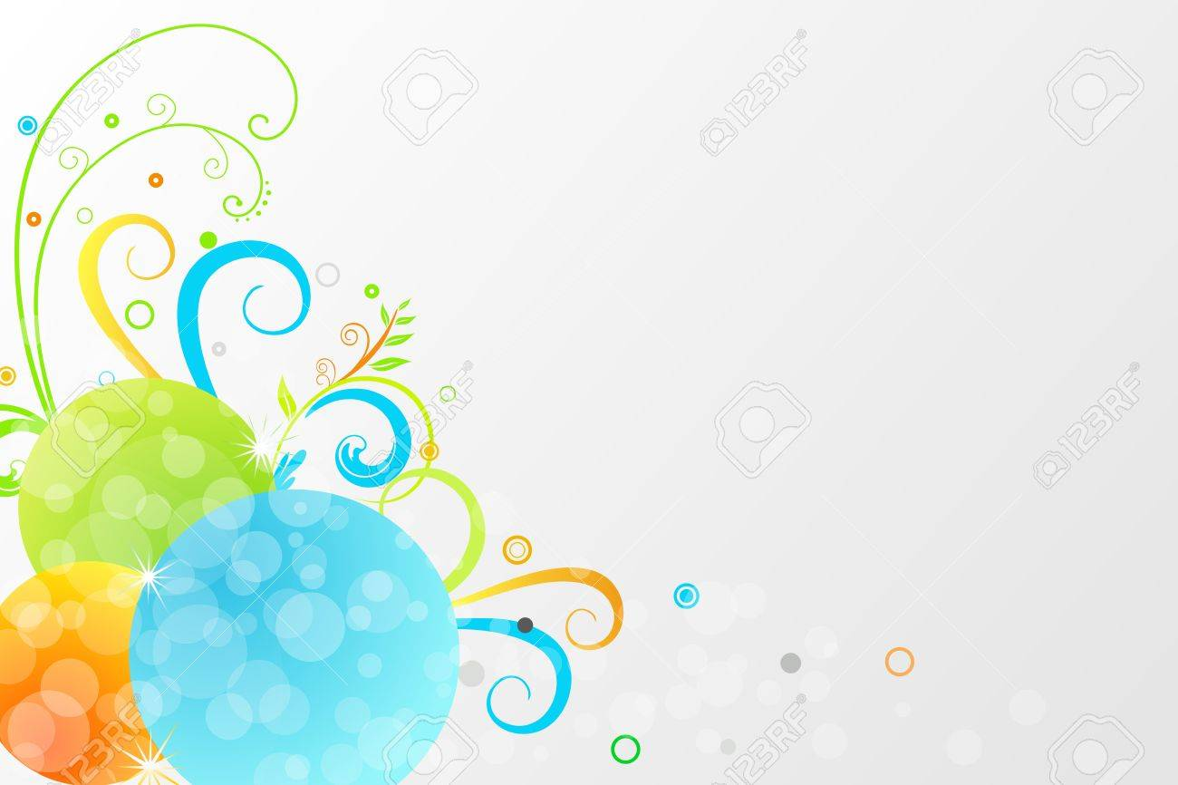 Floral background with colorful motif and bubbles - 17226661