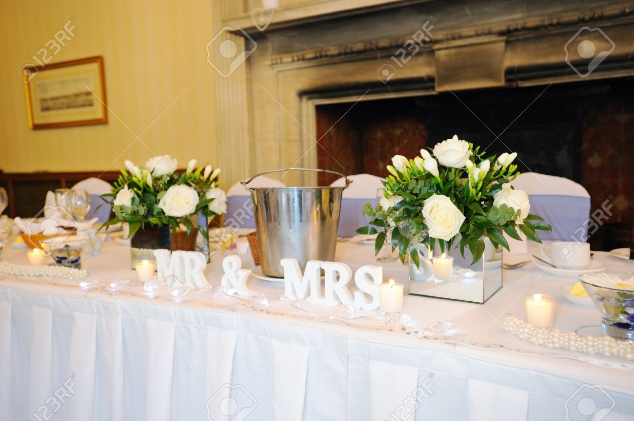Top Table At Wedding Reception Showing Mr Mrs Decoration Stock