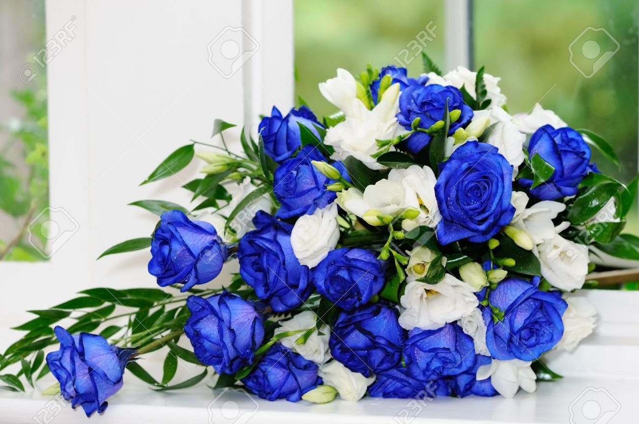 Brides Bouquet Of Blue And White Roses Stock Photo Picture And Royalty Free Image Image 15974216