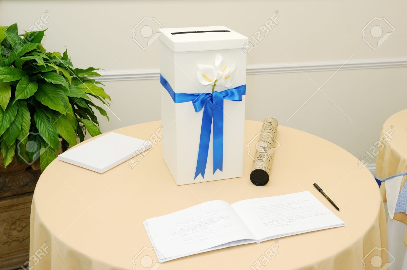 Decorated Gift Table At Wedding Reception With Signing Book Stock ...