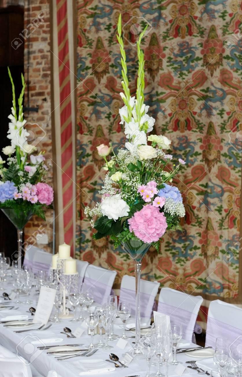 Blumengestecke Schmucken Hochzeitsfeier Mit Rosa Und Weissen