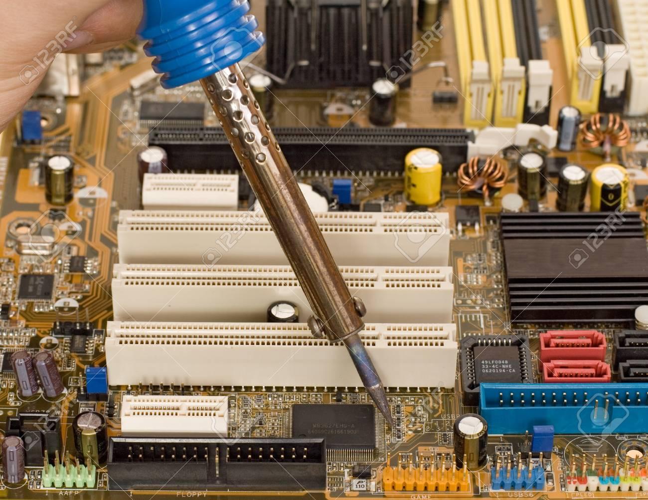 Printed Circuit Board Repair Work Stock Photo Picture And Royalty Repairing Computer Free Image 12190980