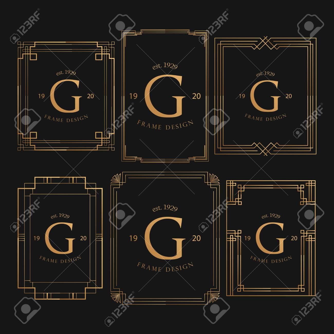 Set Of Golden Frame Luxury. Frame Luxury with Golden Color, Ornament Concept, Luxurious Badges, Gold Label, Retro Concept. Trendy Vintage Royal Ornament Frames Illustration, Good for Hotel Brand. - 145506780