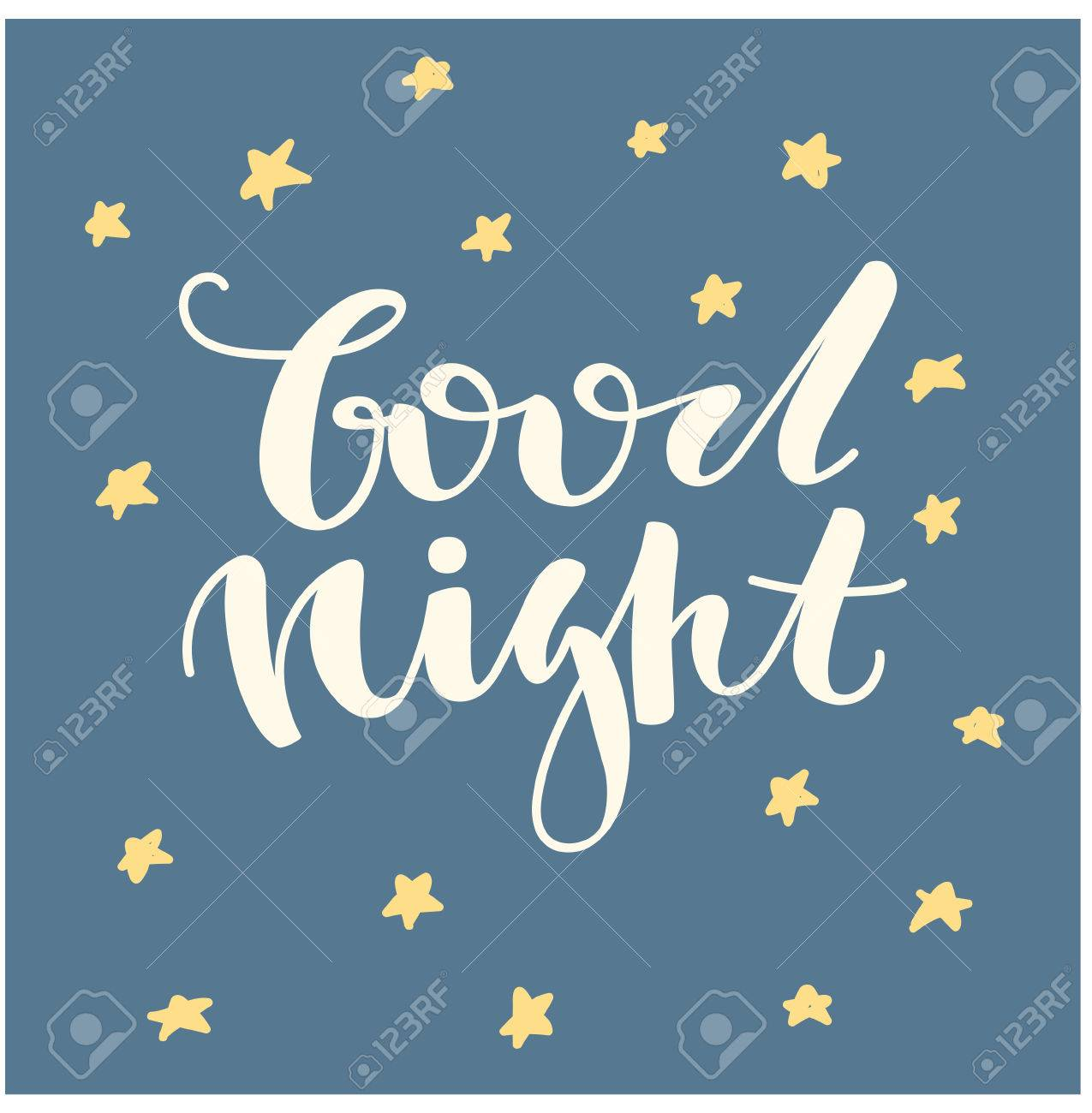 Good Night Hand Written Lettering Cute Hand Drawn Letters Royalty