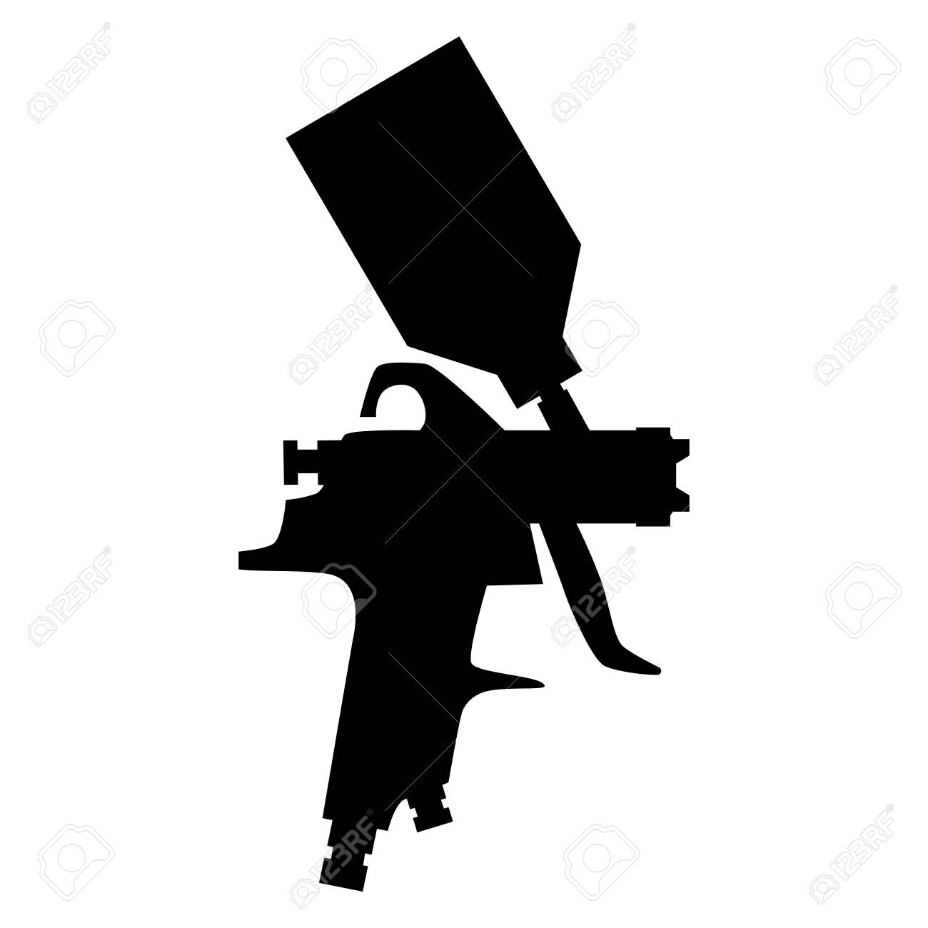 Paint Spray Gun Silhouette Vector Isolated On White Background