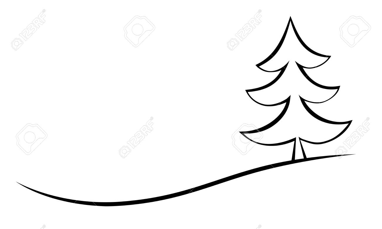 Elegant Black Linear Christmas Tree Vector On White Background Royalty Free Cliparts Vectors And Stock Illustration Image 124289088