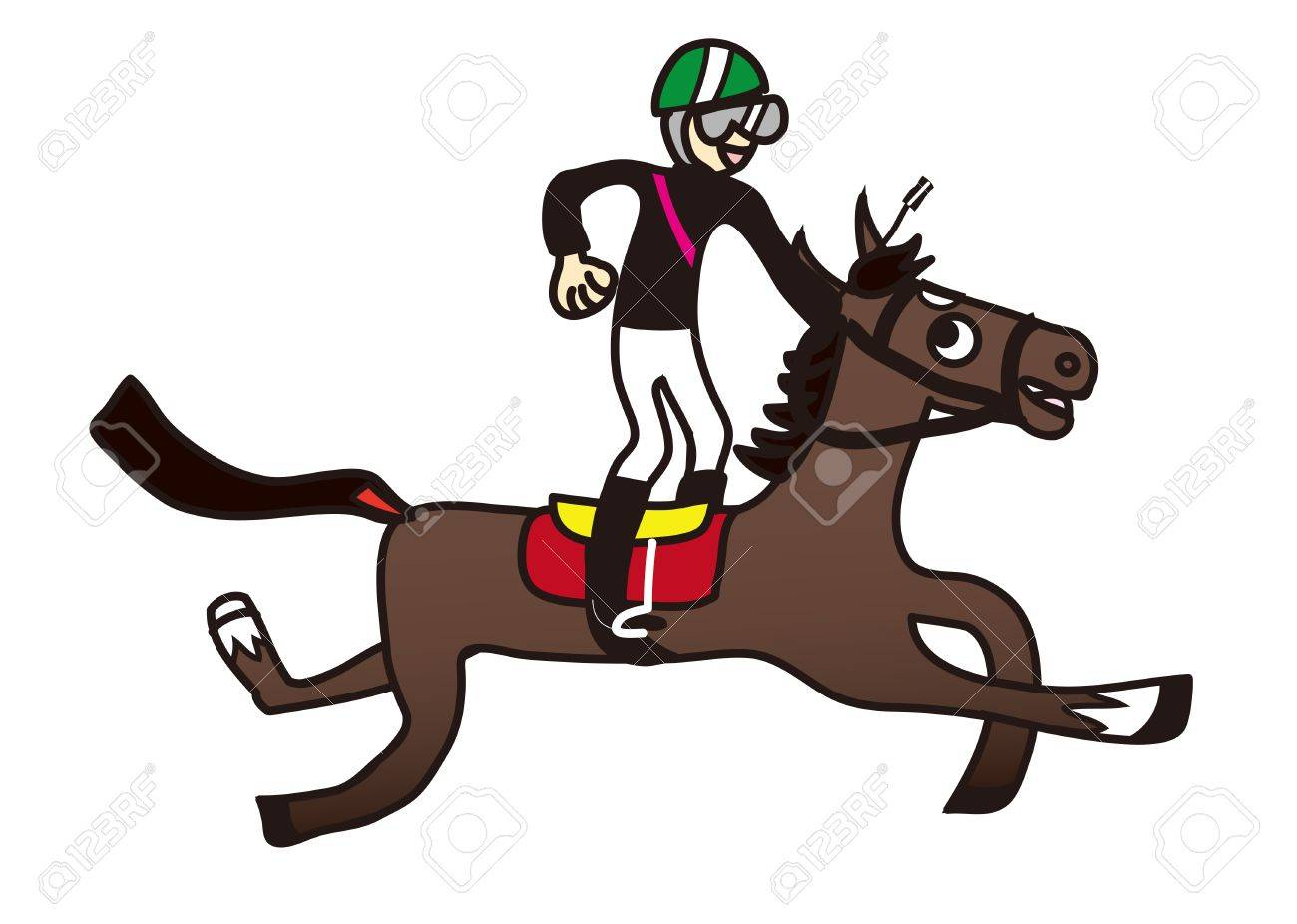 Illustration of a horse and jockey racing Stock Vector - 16029278