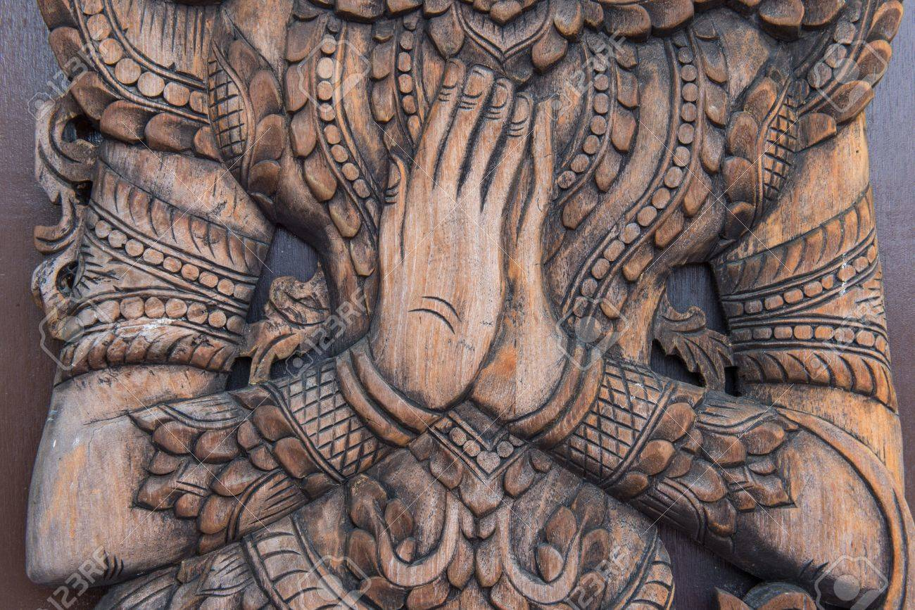 Wooden Carving Of Thailand Greeting Wai Stock Photo Picture And