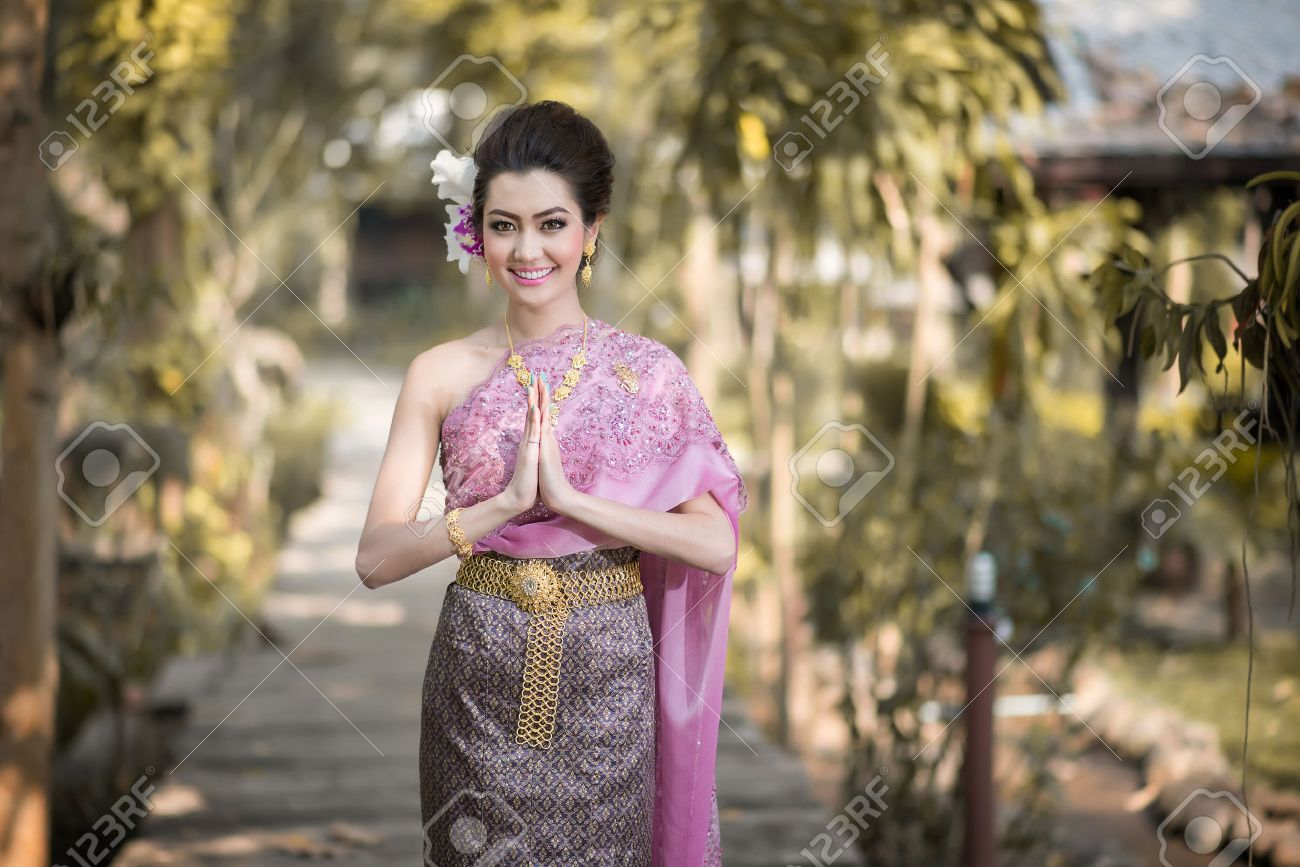 319a253a5 Beautiful Thai Girl In Thai Traditional Costume Stock Photo, Picture ...