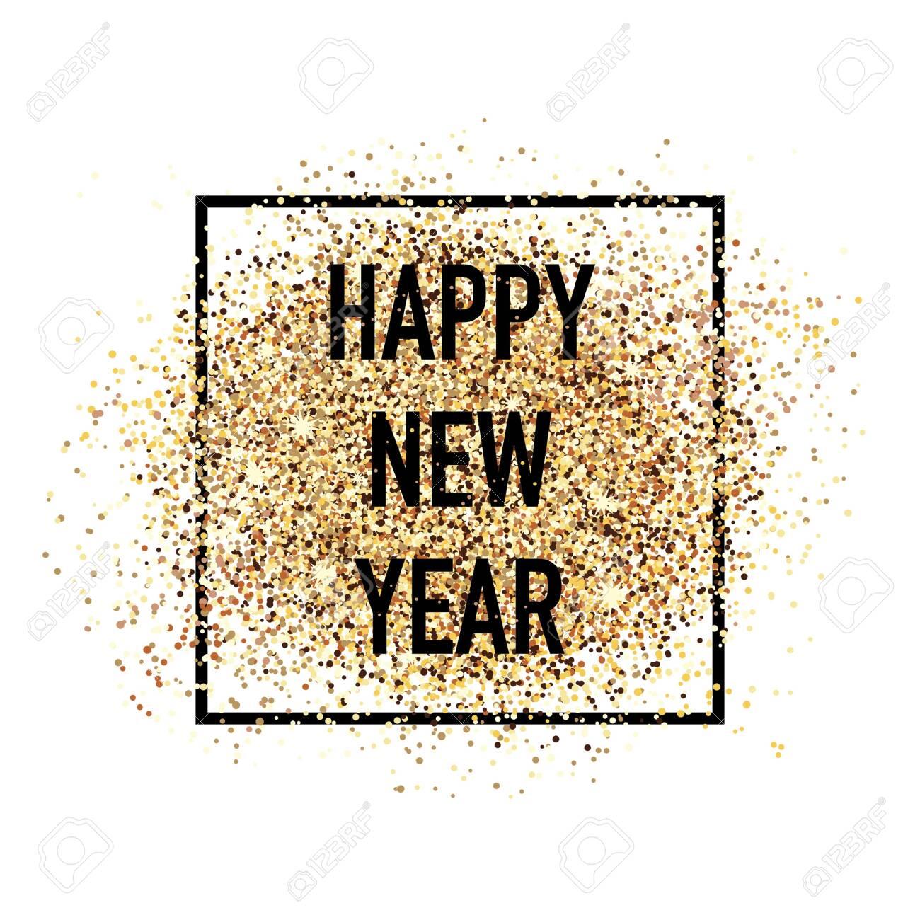 Happy new year confetti postcard decoration. For print and web winter seasonal greetings. Retro style beautiful holidays celebration card. - 130659930
