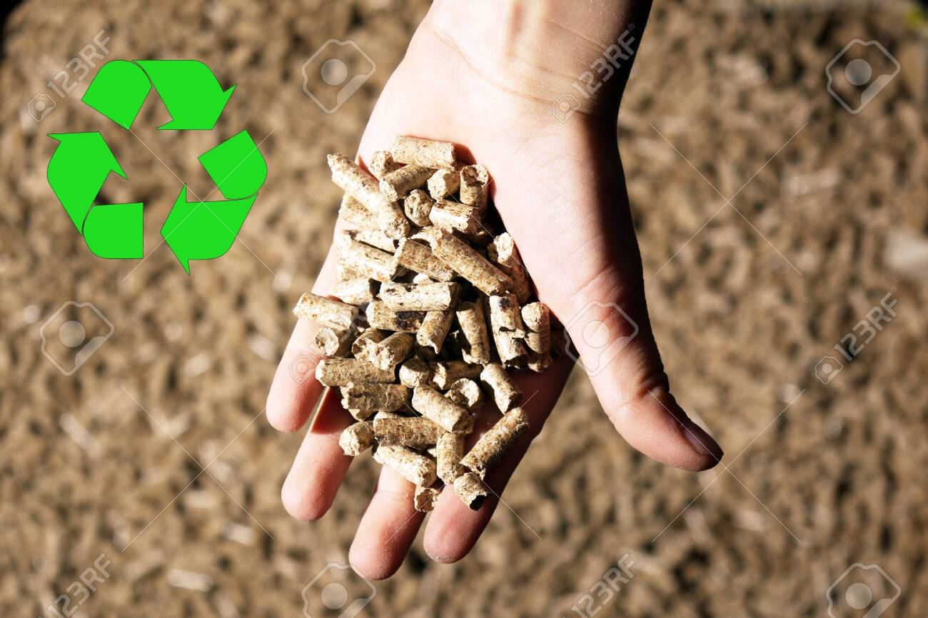 children`s hand and recycle sign with natural ecology wood pellet - 129520620