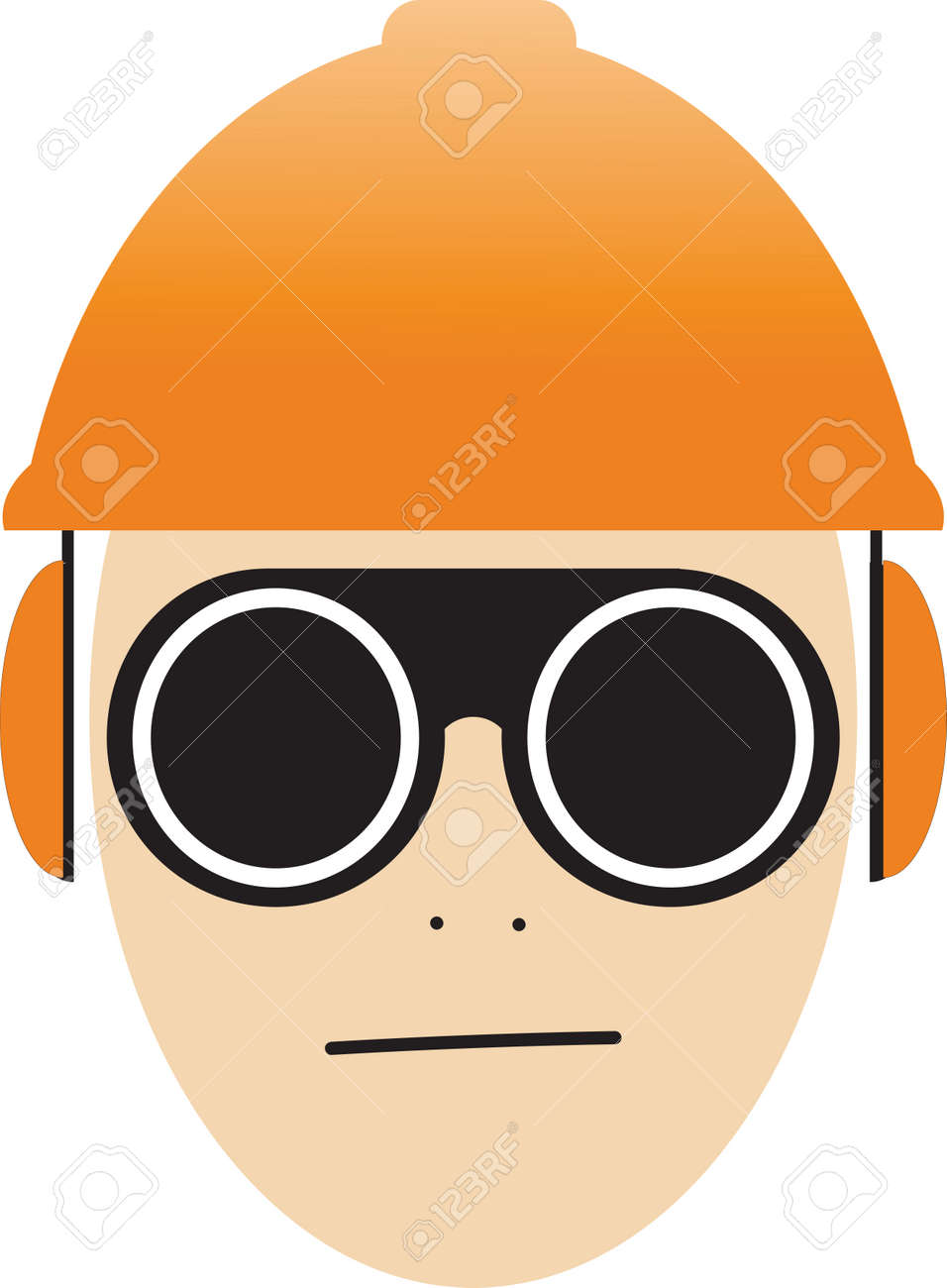 Job safety icon illustration vector, worker wearing glasses, helmet and ear protection - 164755810