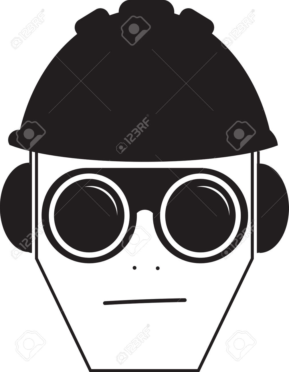 Job safety icon illustration vector, worker wearing glasses, helmet and ear protection - 164755814