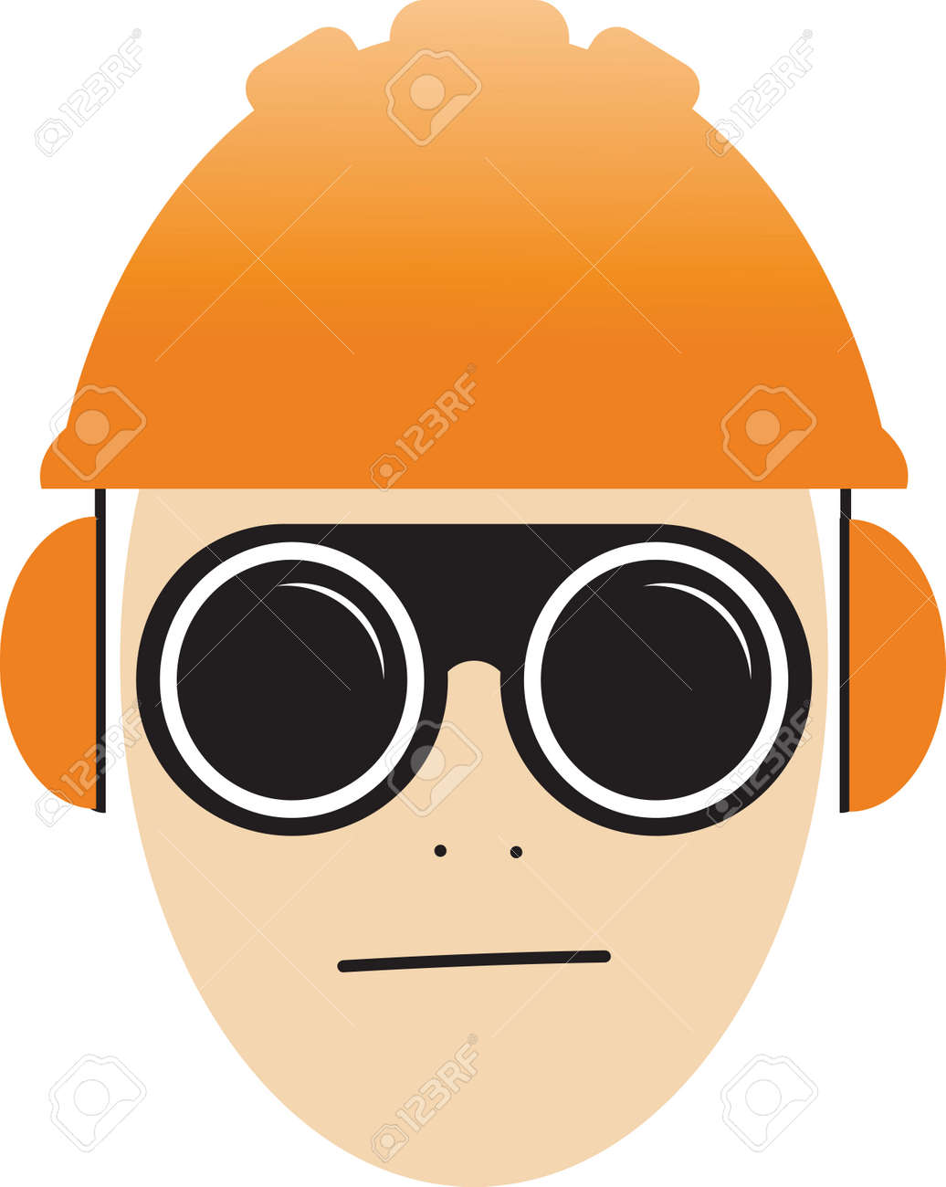 Job safety icon illustration vector, worker wearing glasses, helmet and ear protection - 164665341