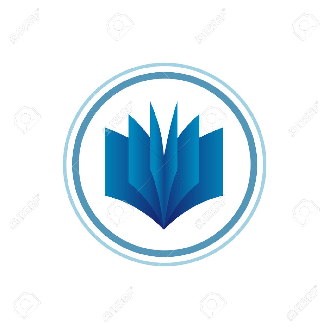 book logo template blue gradient style royalty free cliparts
