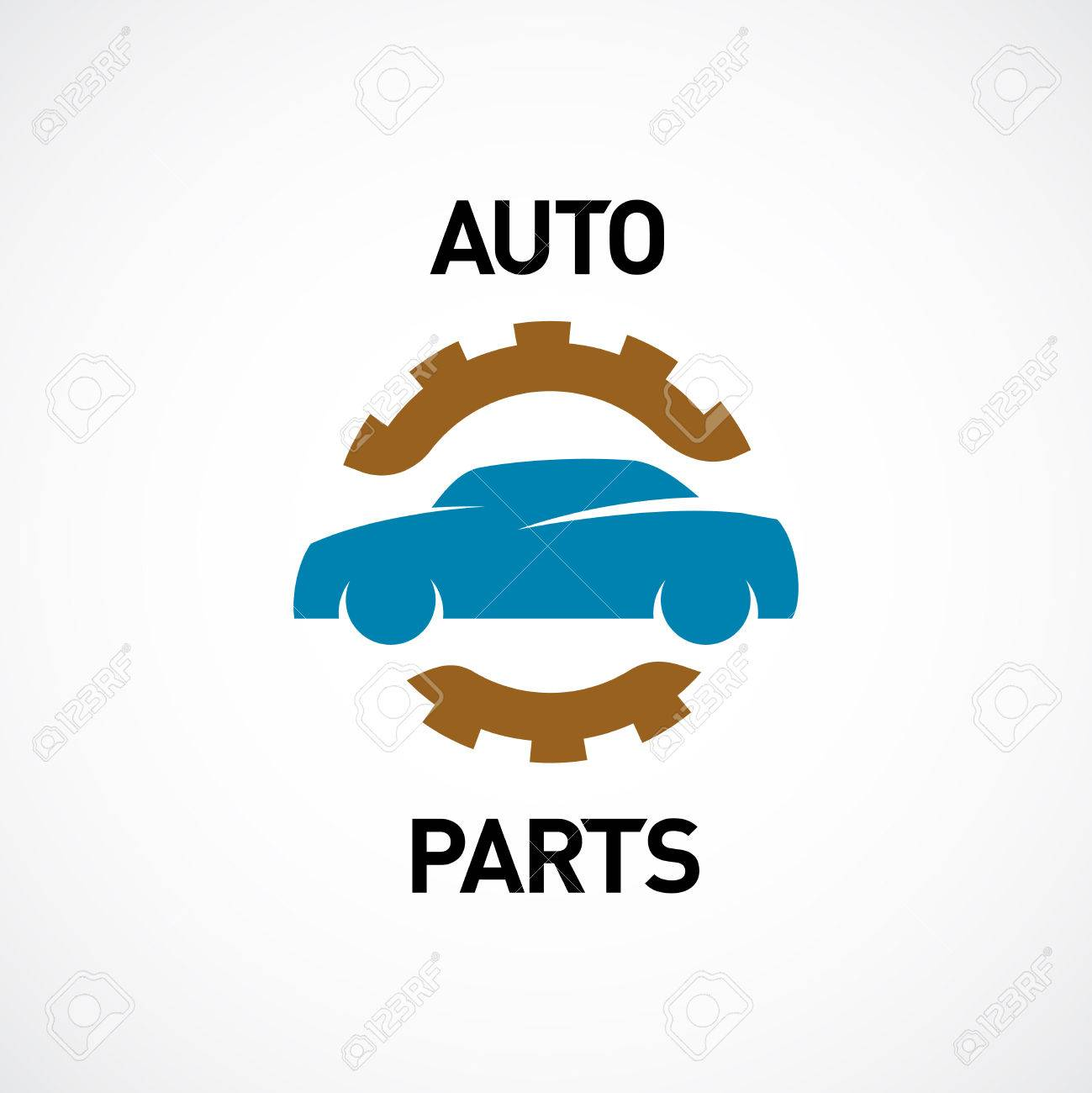 Auto Parts Logo Template. Car Silhouette With Gear Sign. Royalty ...