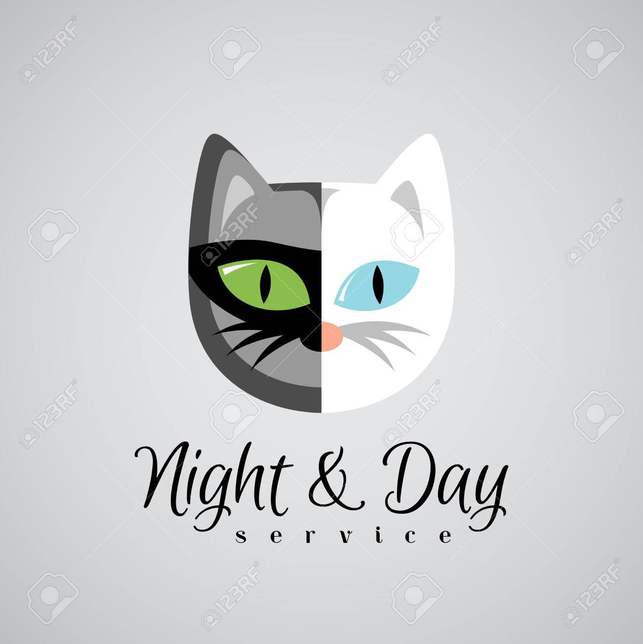 cat face logo template dark gray and white color cats day and