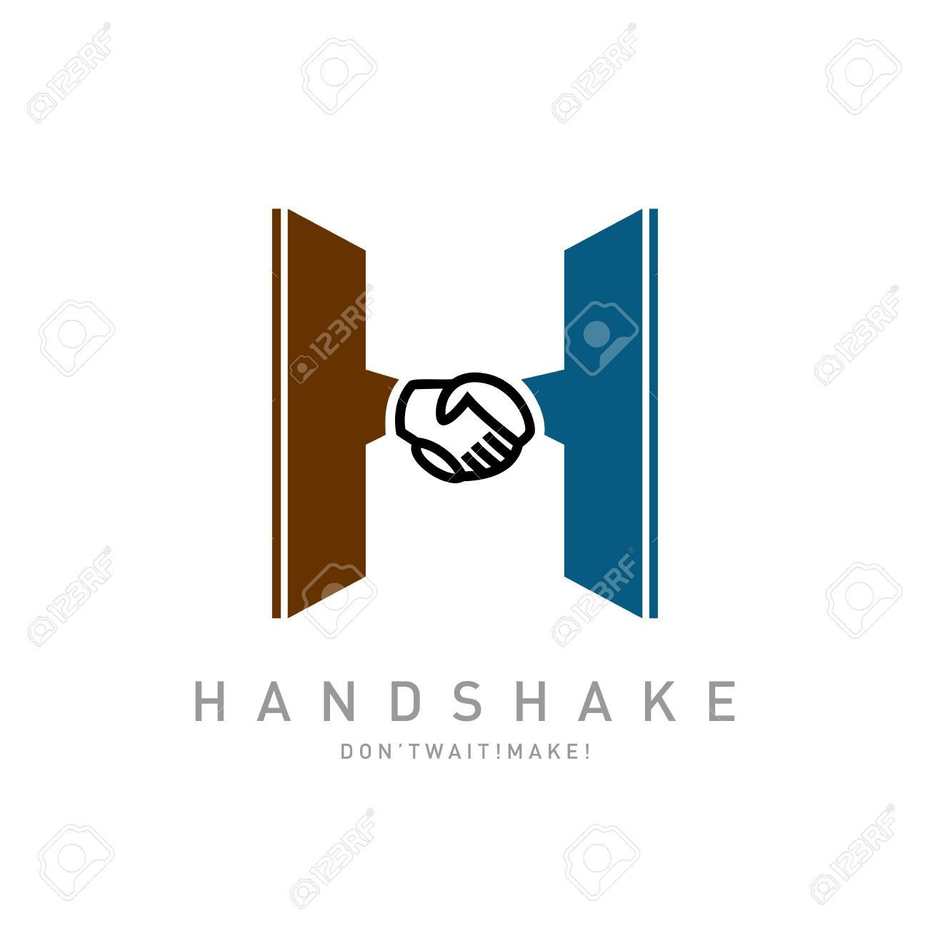 letter h with handshake icon integrated logo template royalty free