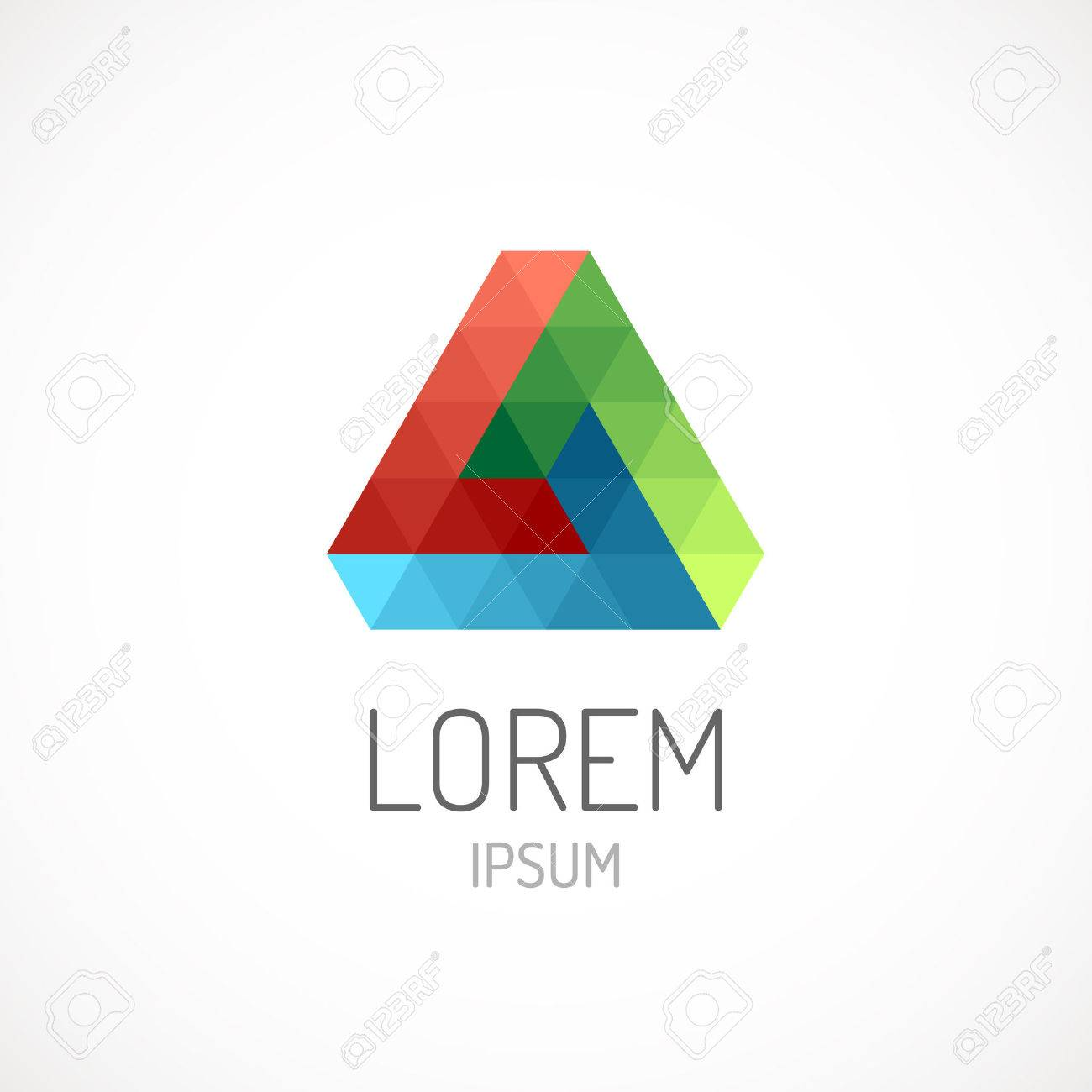 Triangle Abstract Logo Template Icon RGB Colors Infinite Loop Impossible Figure Stock