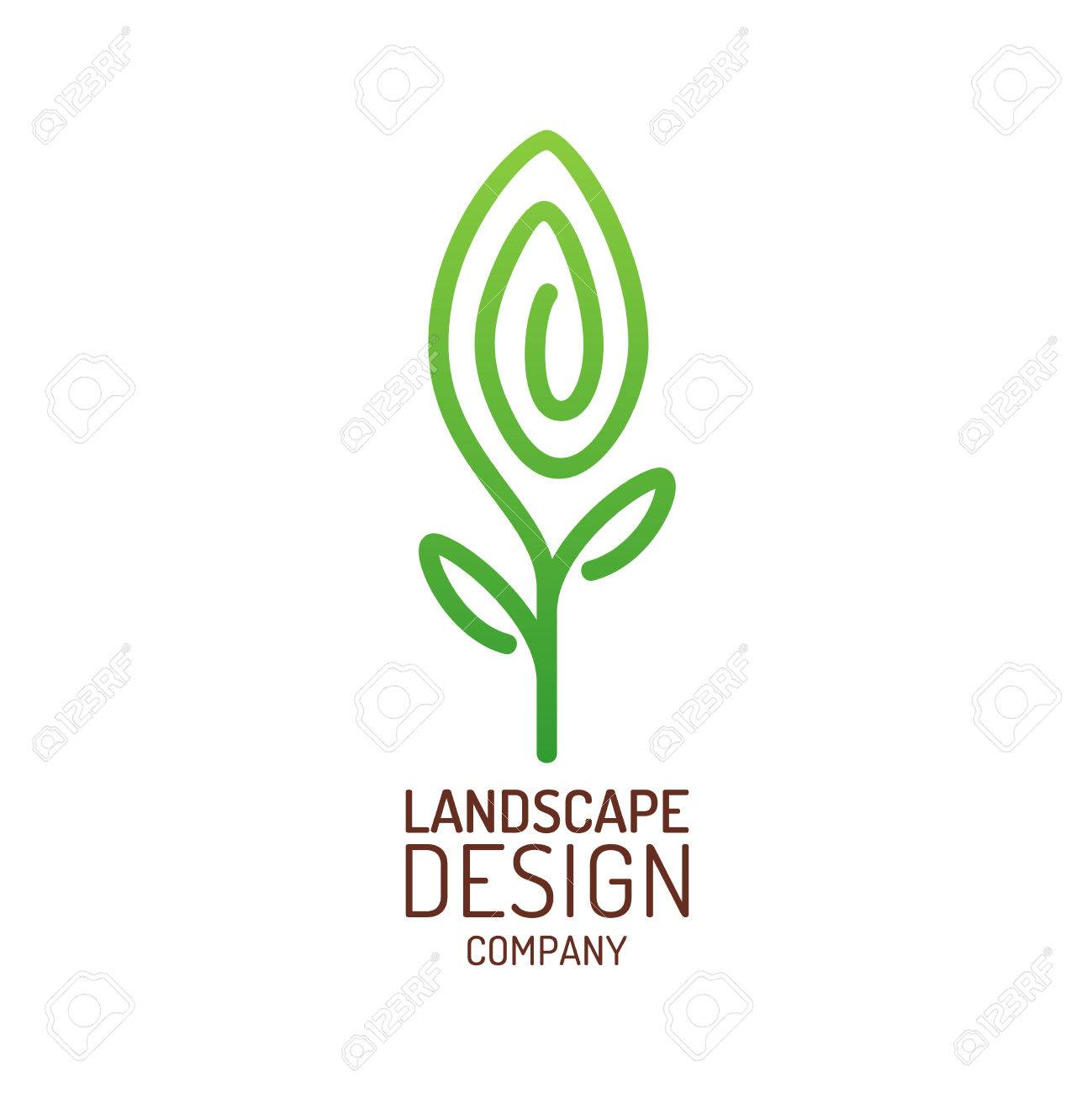 landscape design logo template tree with leaves sign royalty