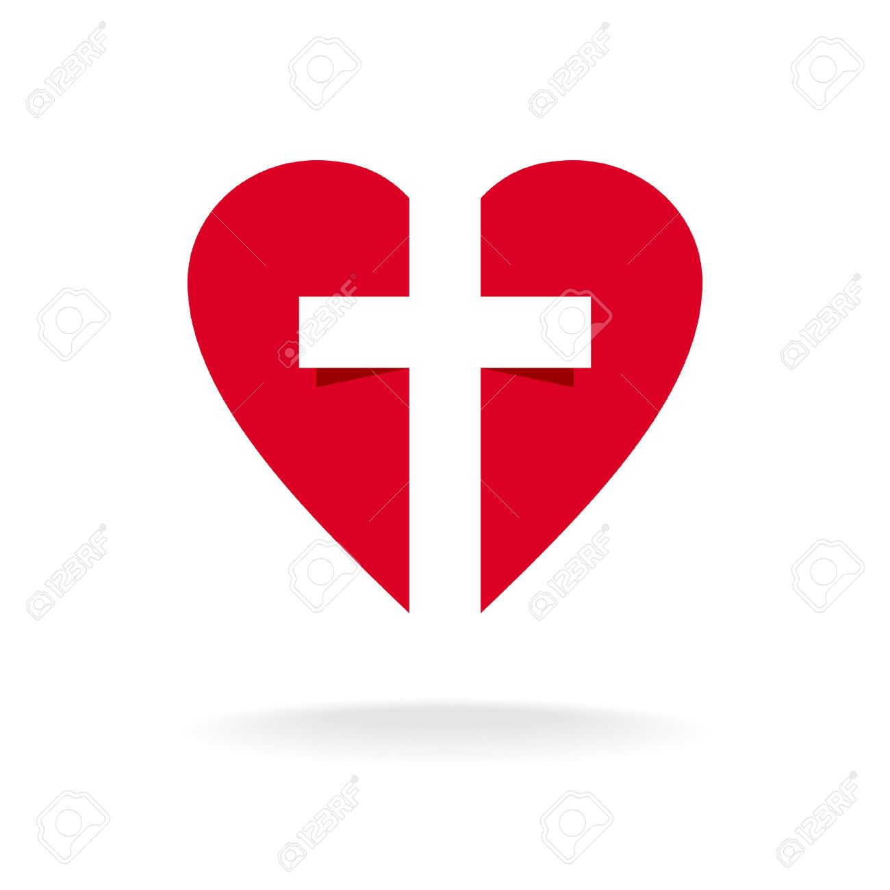 heart with cross church logo template royalty free cliparts vectors