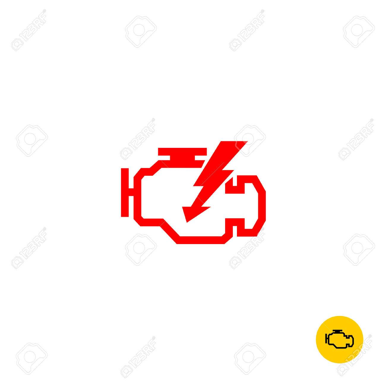 Check Engine Car Symbol. Motor Contour Silhouette With Lightning ...