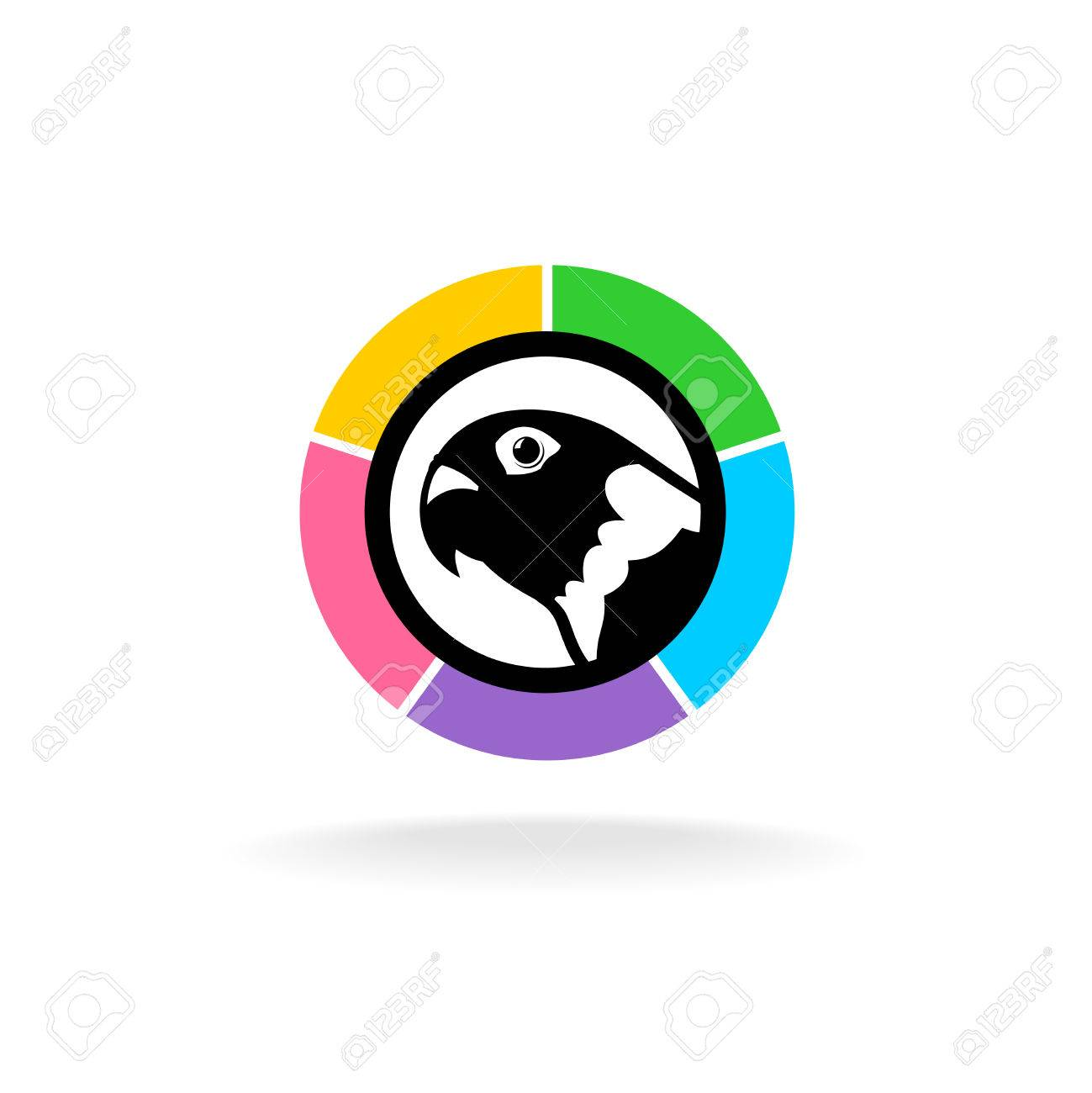 parrot head in a colorful circle pet shop store sign template