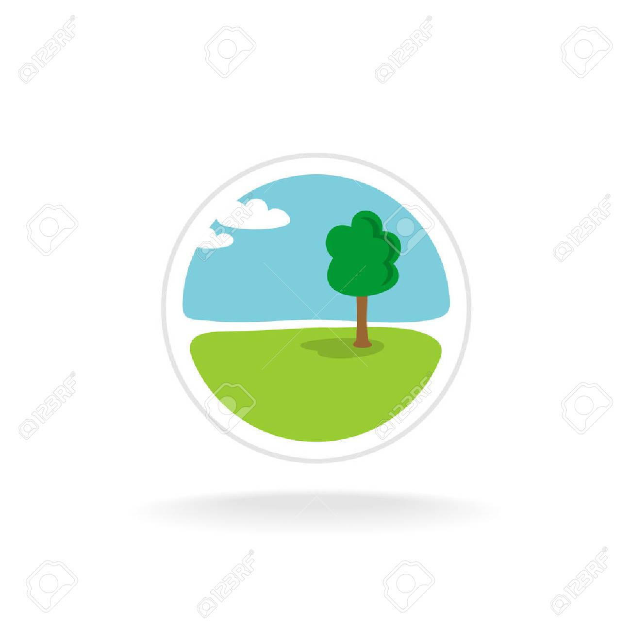 El Diseño Del Paisaje Vector Logo Plantilla Ilustraciones ...