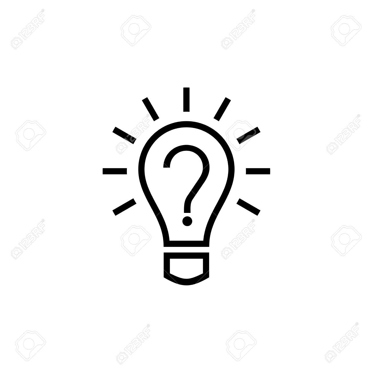 Light Bulb Lamp Icon With Ques...