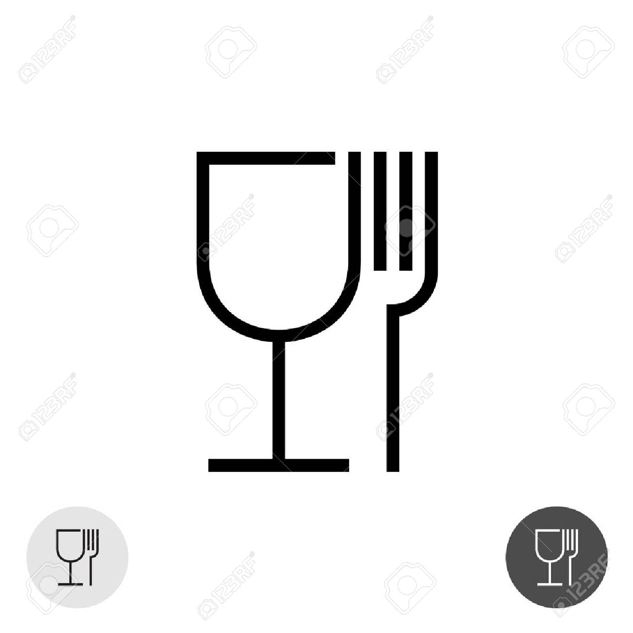 Fork And Glass Simple Black Sign Symbol For Use In Package Layout