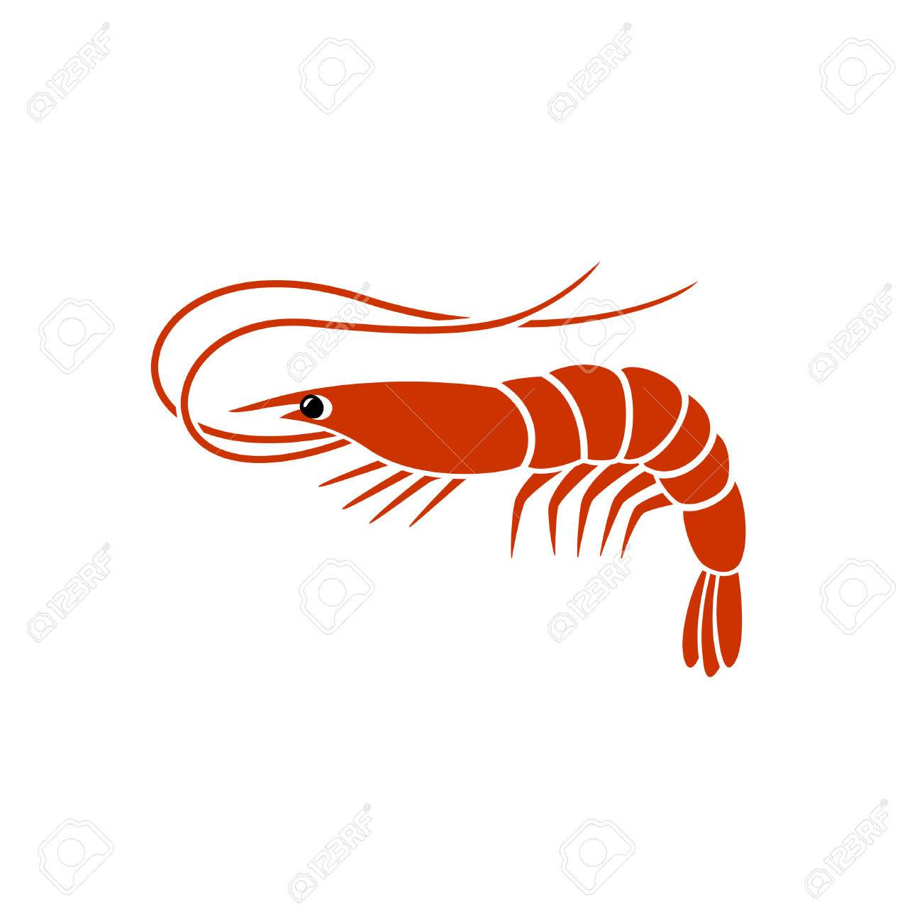 Shrimp Silhouette . Simple Vector One Flat Color Sign. Royalty Free ...