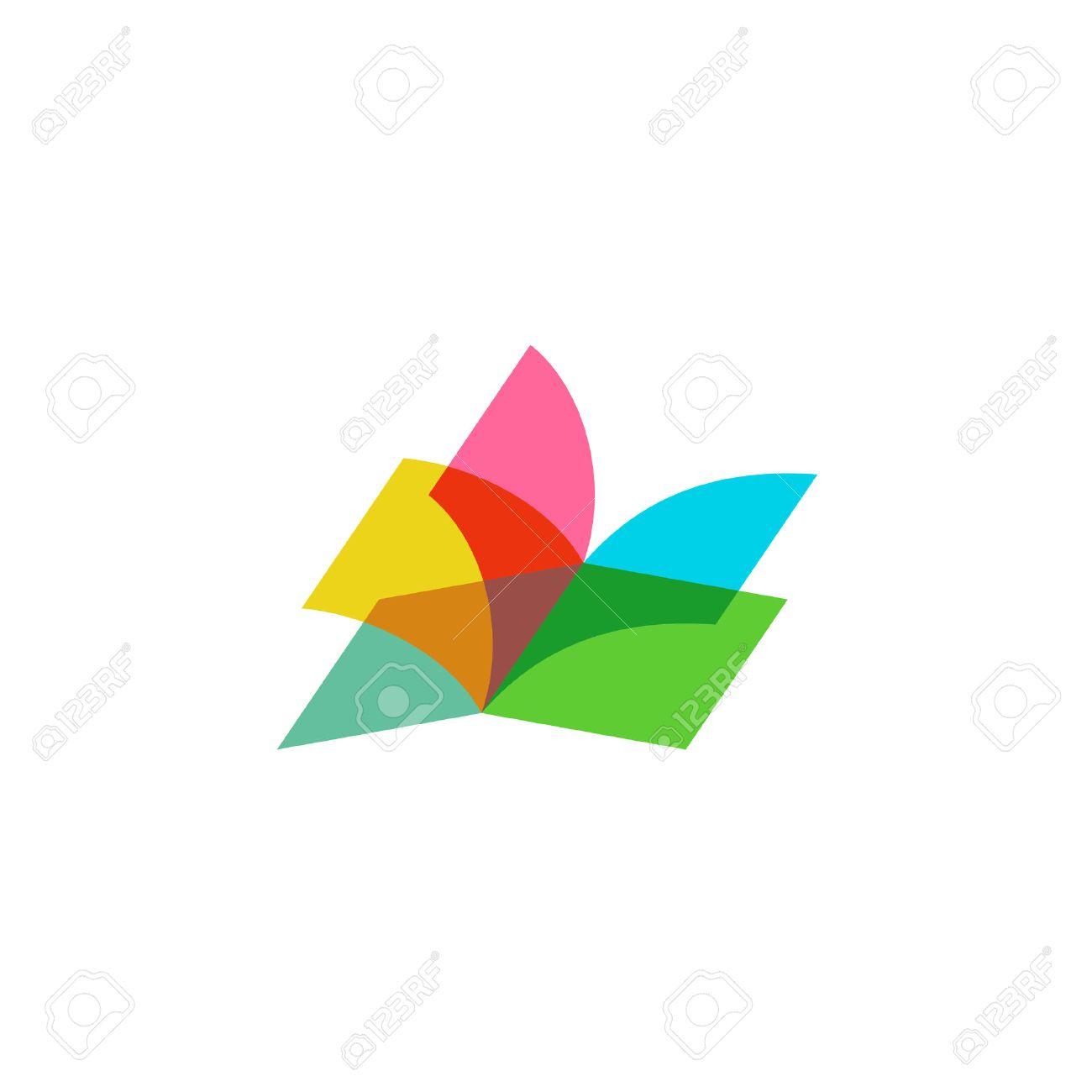Color sheets transparent open book logo - 47969436